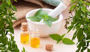 hierbas y aceite