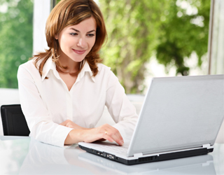 Woman searching for information online
