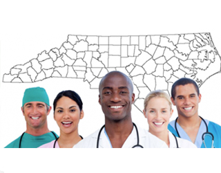 Group of healthcare professionals in front of North Carolina map